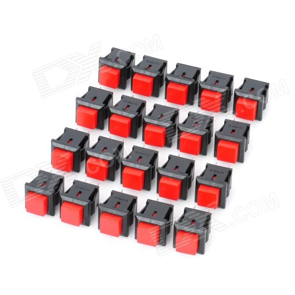2-Pin Push Button Switches - Red + Black (20-Piece Pack)Switches &amp; Adapters<br>Model6057Quantity20ColorRed + BlackMaterialPlastic + copperFeatures2-Pin design, Rated loading: 1A  / AC 125V; Momentary normally closedApplicationDIY projectPacking List20 x Switches<br>
