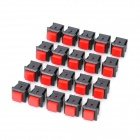 2-Pin Push Button Switches - Red + Black (20-Piece Pack)