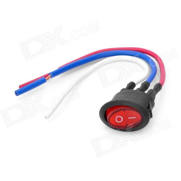 DIY Rocker Button Switch w/ 3 x Cables - Red + Black (6A 250V / 10A 125V) 5 pcs ac 6a 250v 10a 125v 3 pin black button on on round boat rocker switch