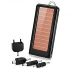 Solar Powered 1500mAh Mobile Power Battery Charger w/ 4-LED Flashlight / Adapters - Black