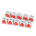 Self-Locked Push Button Switches with Indicator Light - Grey + Red (10-Piece Pack)