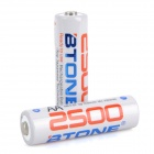 2500mAh Ni-MH Rechargeable AA Low Self Discharge Batteries - White (Pair)