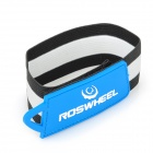 Roswheel Cycling Velcro Leg Pants Band Strap - Black + White + Blue