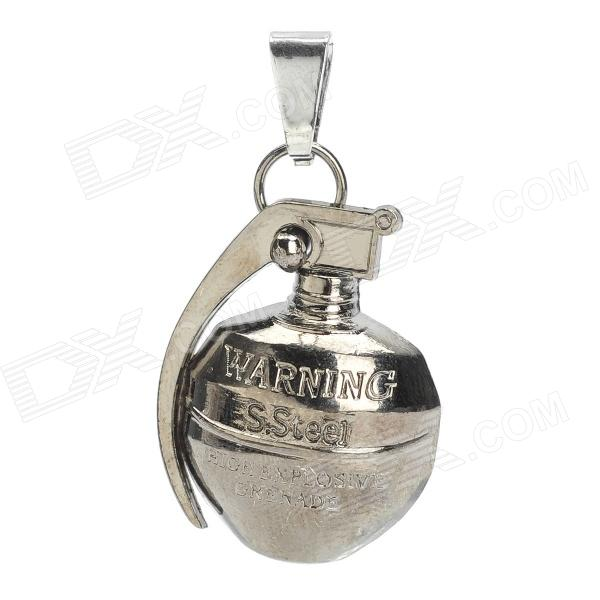 DIY Cool Titanium Steel Grenade Necklace Pendant - Grey