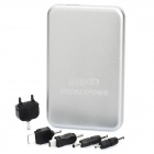 5000mAh Mobile External Power Battery Charger with Adapters - Silver