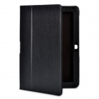 Foldable Flip Open Protective PU Leather Cover Case for Samsung P5100 - Black