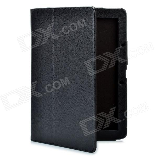 Foldable Flip Open Protective PU Leather Cover Case for Acer A510 - Black