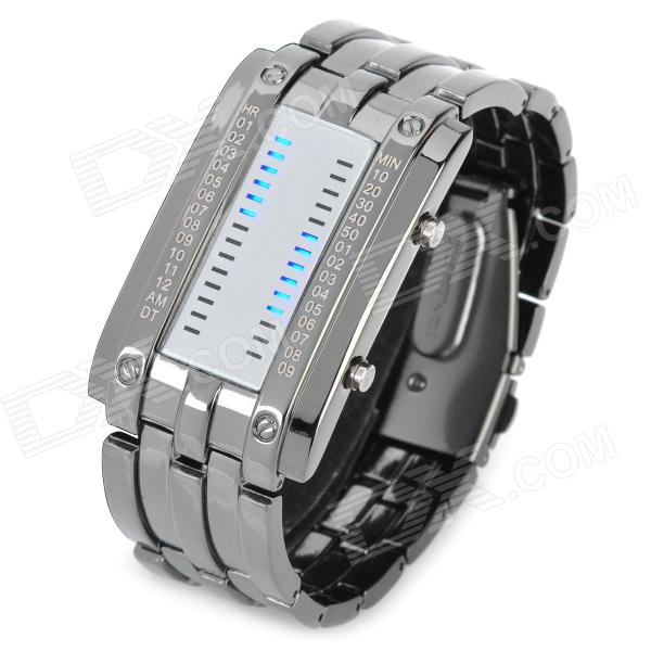 SKMEI Men's LED Display Quartz Wrist Watch - Black (1 x CR2016) fashion stainless steel red yellow led water resistant wrist watch black 2 x cr2016