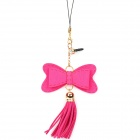 Cute Bowknot Style Cell Phone Strap with 3.5mm Anti-Dust Plug - Deep Pink