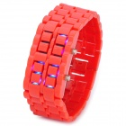 New Concept Leva LED Blue Backlight Wrist Watch - Red (1 x CR2032)