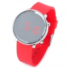 Crystal Dial Ladder-shaped Edge Red Backlight LED Wrist Watch (1 x 1R2032)