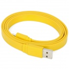 USB 2.0 Male to Micro 5P Male Data / Charging Flat Cable for Samsung + HTC + More - Yellow