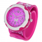 Fashion Butterfly Silicone Band Colorful LED Backlight Quartz Wrist Watch - Deep Pink (2 x CR2016)