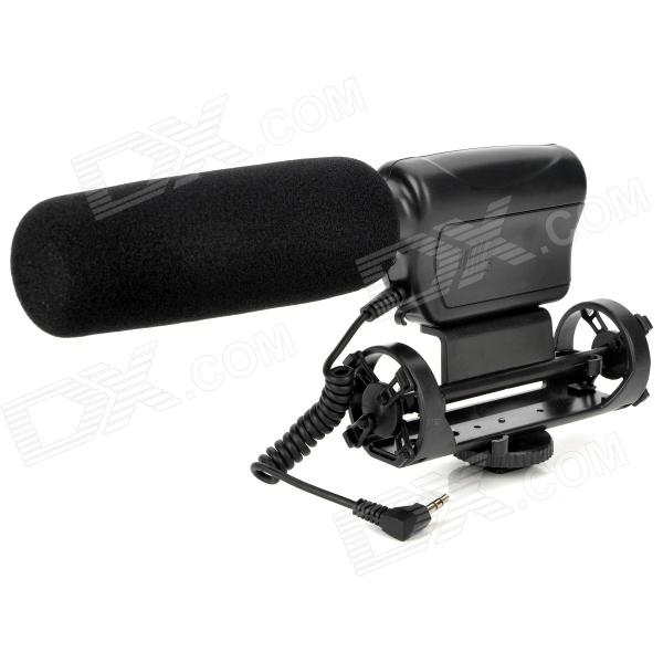 Nonsha NA-Q7 Professional Stereo Shotgun Microphone w/ Mount for Camcorder - Black