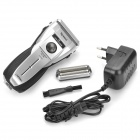 Chaoli Rechargeable Waterproof 3-Head-Blade Shaver Razor - Black + Silver (AC 230V; EU Plug Adapter)