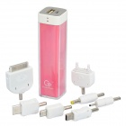 2200mAh Mobile External Power Battery Charger with Adapters - Pink