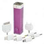 2200mAh Mobile External Power Battery Charger with Adapters - Purple