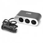 Triple Sockets Car Power Adapter Splitter with USB Port (12V)