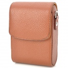 Universal Protective PU Leather Top Flip Bag Case w/ Strap for Camera - Brown