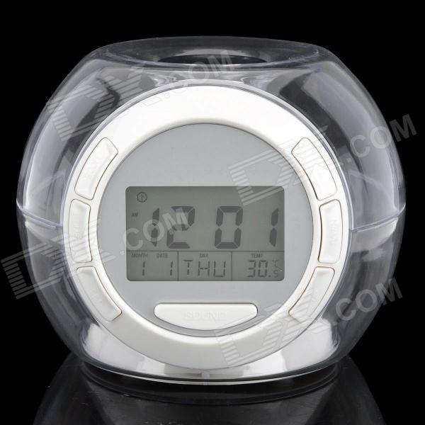 1.7 LCD Ball Style Clock with Calendar / Temperature - White + Transparent (3 x AAA) 3 0 lcd digital alarm clock w message board calendar thermometer white 3 x aaa