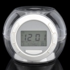 "1,7 ""-LCD-Ball Style Uhr mit Kalender / Temperatur - White + Transparent (3 x AAA)"