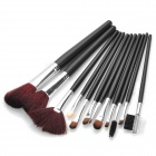 12-in-1 Professional Cosmetic Makeup Brushes Kits - Black + Brown