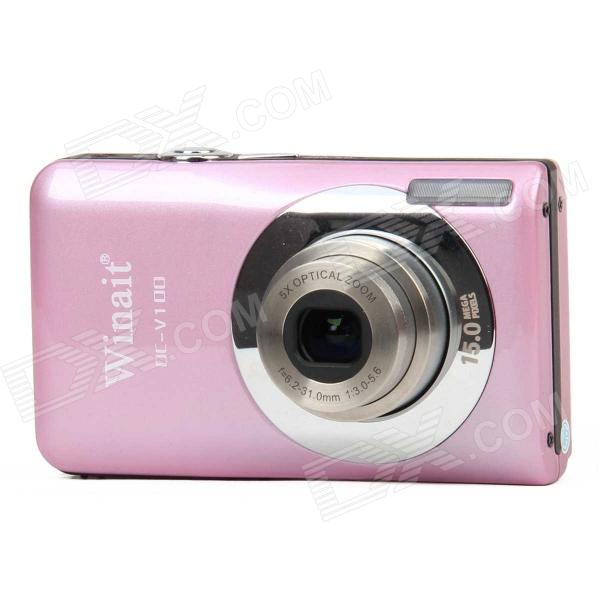 DC-V100 15MP CMOS Digital Camera w/ 5X Optical Zoom / 4X Digital Zoom / SD Slot - Pink (2.7 TFT) 5 0mp digital video camcorder w 4x digital zoom motion detection hdmi sd slot 2 5 tft lcd