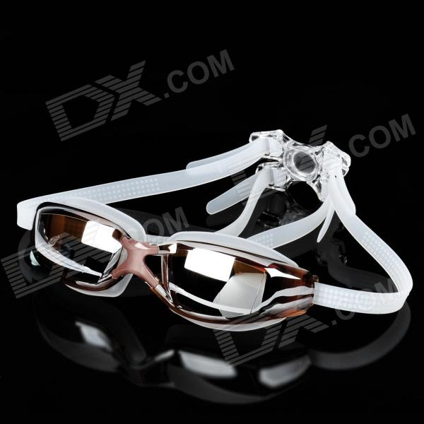Silicone Strap PC Lens Swimming Goggle Glasses w/ Earbuds / Nose Bridges - Coffee