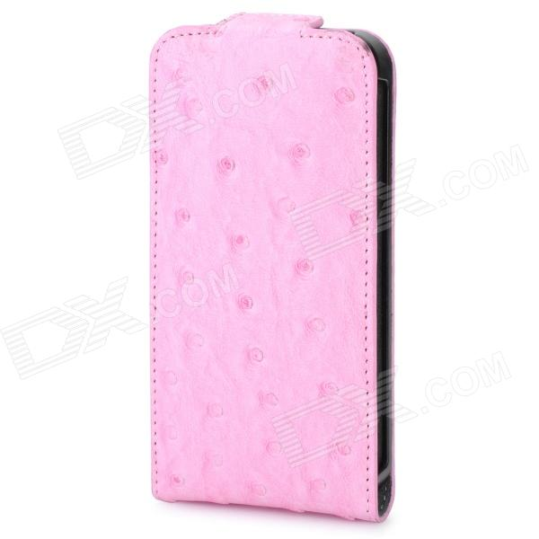 Ostrich Pattern Protective PU Leather Back Case for Iphone 4 / 4S - Pink circle pattern protective pu leather case w strap for iphone 4 5 4s red