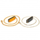 Mini 4-Hole 8-Tone Harmonicas with Necklace Chain - Black + Golden (2-Pack)