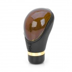 LYH0010 Stylish PU Leather + Wood Car Shift Gear Knob - Black + Brown