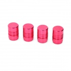 Aluminum Alloy Bike Bicycle Tyre Tire Valve Caps - Deep Pink (4-Piece)