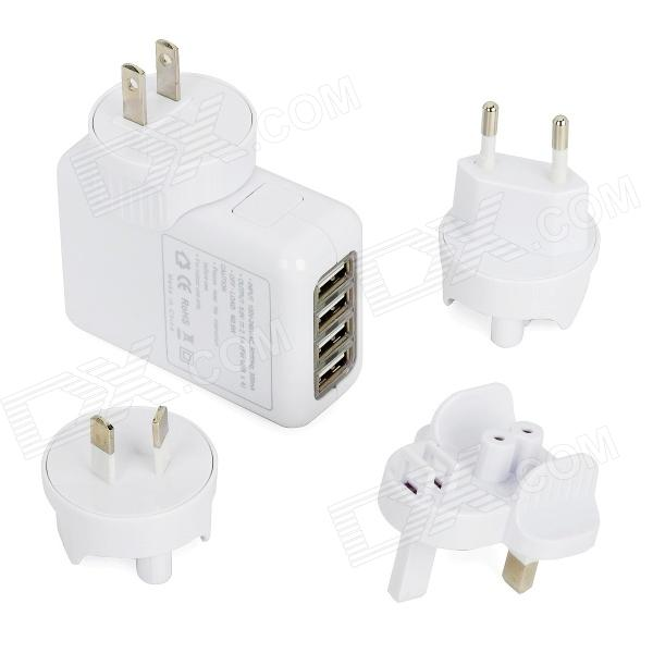 купить Universal AC Power Adapter with USB 4-Port HUB / US Plug / EU Plug / UK Plug / AU Plug - White недорого