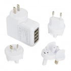 Universal AC Power Adapter with USB 4-Port HUB / US Plug / EU Plug / UK Plug / AU Plug - White