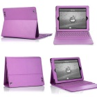 Wireless Bluetooth V3.0 76-Key Keyboard w/ PU Leather Case for Ipad / Ipad 2 / The New Ipad - Purple