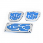 Metal Car Pedals for Brake / Clutch / Accelerator - Silver + Blue (3-Piece Set)