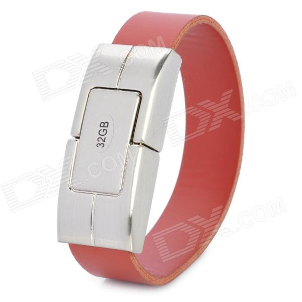 PU Leather Wrist Band Style USB 2.0 Flash Drive - Silver + Brown (32GB)