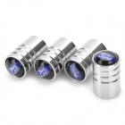 Car Tire Valve Caps w/ Ford Logo - Silver (4-Piece Pack)