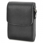 Universal Protective PU Leather Top Flip Bag Case w/ Strap for Camera - Black