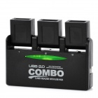 SY-H226 3-Port USB 2.0 HUB + Multi-in-One Memory Card Reader Combo - Black