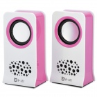 USB Powered Music Speakers - Pink + White (3.5mm-Plug)