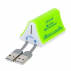 SY-695 USB 2.0 Multi-Card Reader + Bluetooth V2.0 Adapter Combo - Green + White