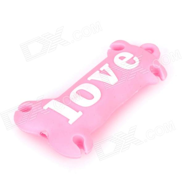 Cute Mini Love Pattern Silicone Earphone Headphone Cable Winder - Pink