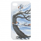 Cartoon Style Protective Plastic Case for iPhone 4 / 4S - White + Blue