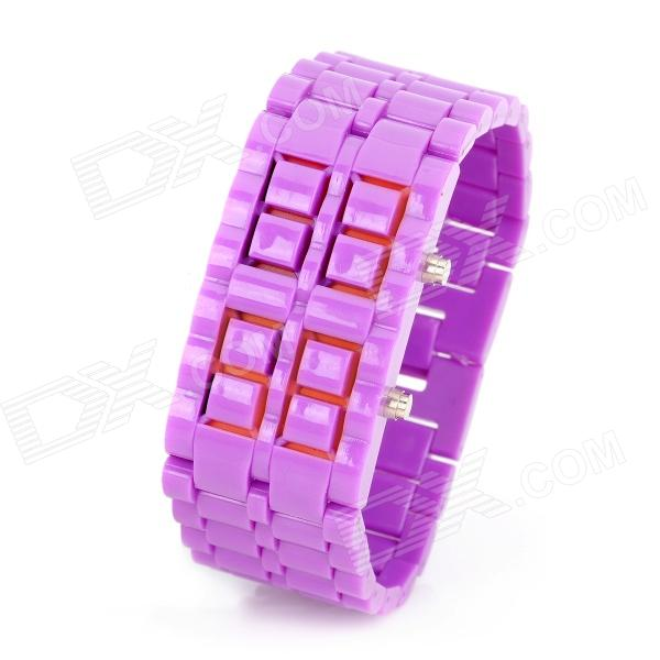 New Concept Leva LED Blue Backlight Wrist Watch - Purple (1 x CR2032) new concept lava led red backlight wrist watch yellow 1 x cr2032
