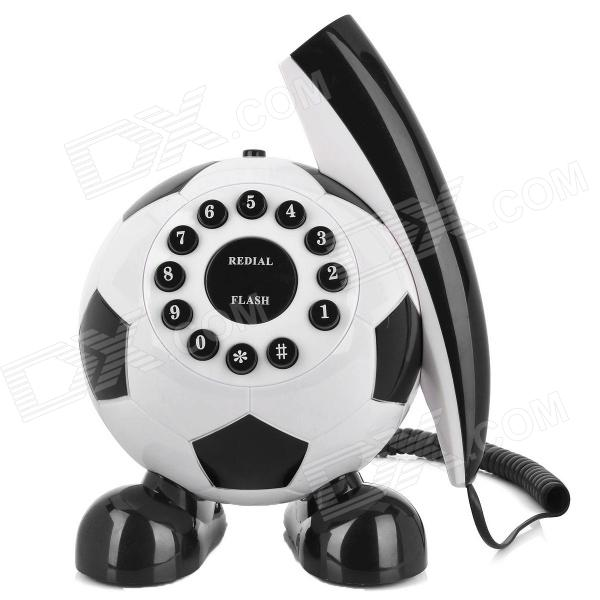 Cute Football Shaped Wired Telephone - Noir + Blanc