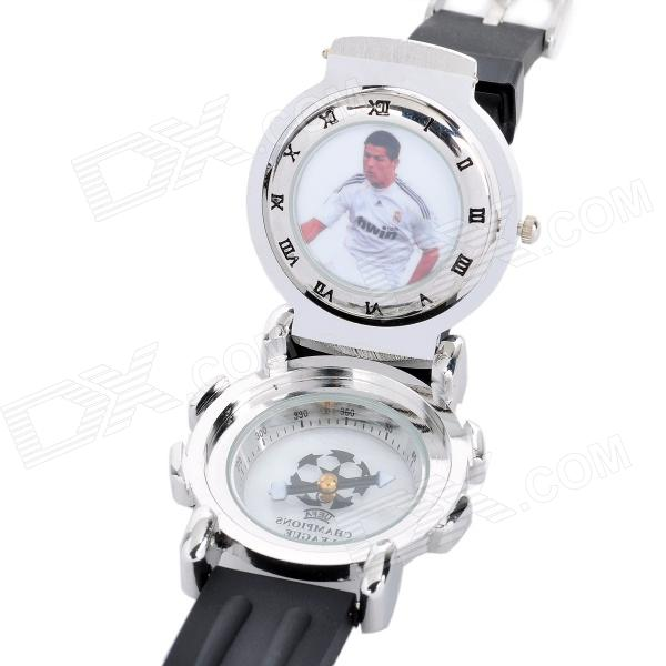 Real Madrid Football Club Logo Flip-up w/ 360 Degree Rotatable Dial Quartz Wrist Watch (1 x SR626)