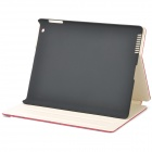 Ostrich Pattern Protective PU Leather Case for Ipad 2 - Red