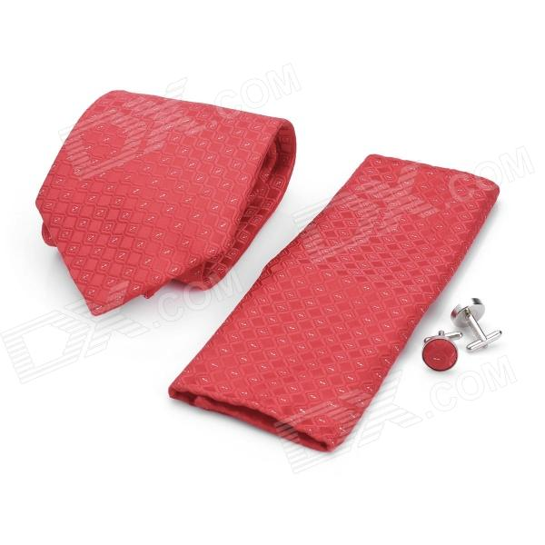 Fashion Big Red Diamond Pattern Men's Tie + Handkerchief + Cuff Links