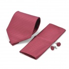 Fashion Arrow Pattern Men's Tie + Handkerchief + Cuff Links - Red